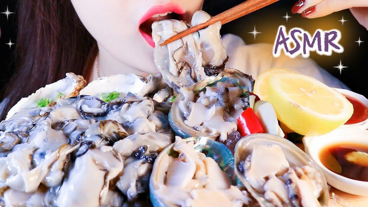 ASMR ABALONE SASHIMI + RAW OYSTER 전복회 + 생굴 ASMR NO TALKING EATING SOUNDS MUKBANG