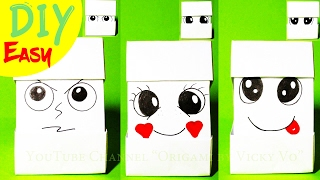DIY Origami Cube Changing Faces 3d EMOJI | Оригами кубик меняющий лицо из бумаги | Кубик с эмоциями