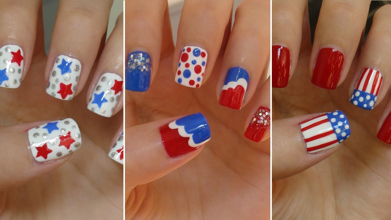 Fourth of july nails three easy designs youtube prinsesfo Image collections