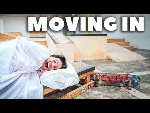 SKATER LIVES IN SKATEPARK?! *Moving into the Shredquarters*