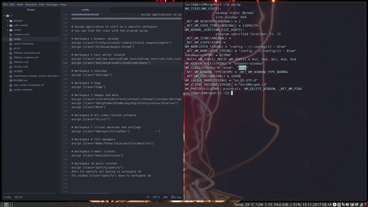 19 – giving an overview of the i3 config file on ArcoLinux(D