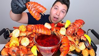 Seafood Boil With Bloves Sauce • Lobster Tails, King Crab Legs, Shrimp, & Sea Scallops • MUKBANG