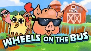 The Wheels On The Bus | Cartoon Barnyard Animals | Funny Song for Kids