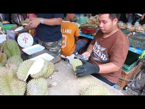 How to Cut a Durian Fruit - Thailand Street Food - Thai Street Food