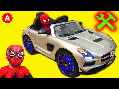 Super-Héros SpiderMan Mécanicien Adam Déballe Jouet Voiture Electrique Mercedes SLS AMG