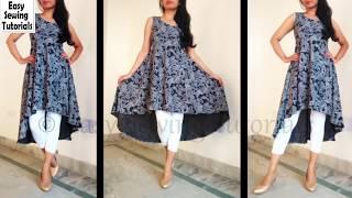 Designer Umbrella Kurti Cutting and Stitching in HINDI | High Low Umbrella Kurti
