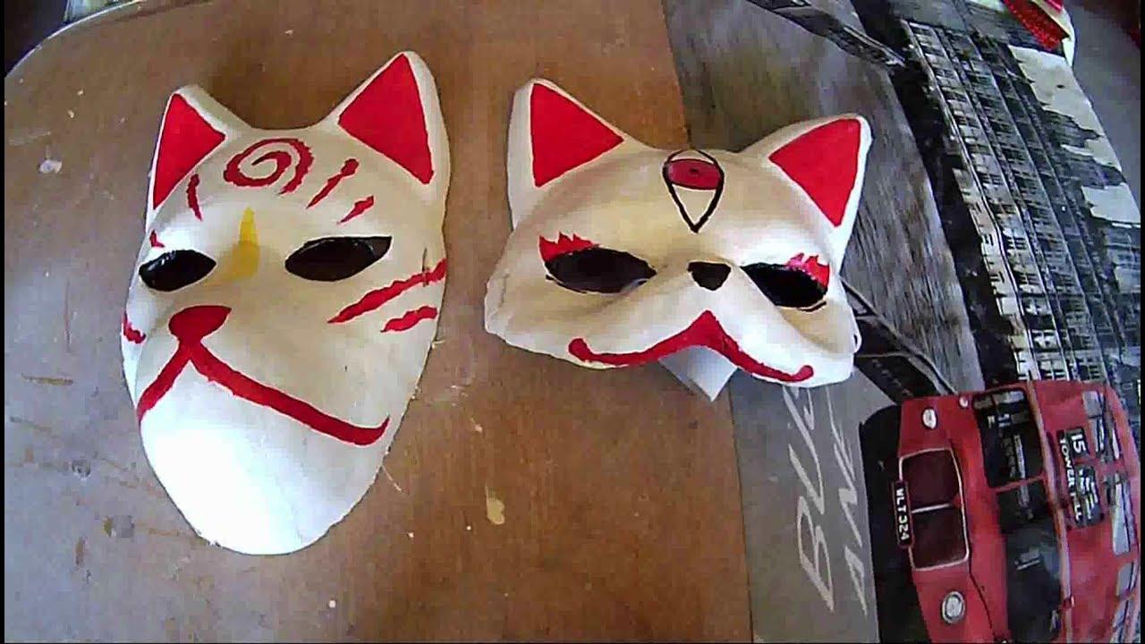 como hacer una mascara kitsune - diy - youtube