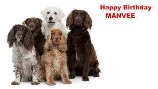 Manvee  Dogs Perros - Happy Birthday