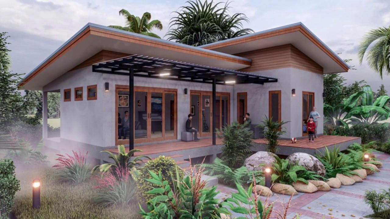 แบบบ้านโมเดิร์นชั้นเดียว(มีแปลนบ้าน)ในสวน 2 ห้องนอน ผนังปูนเปลือย : ไอเดียบ้าน Amazing Build House