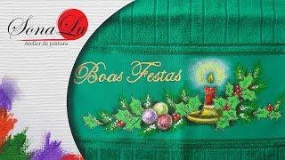 Boas Festas em Tecido Verde por Sonalupinturas
