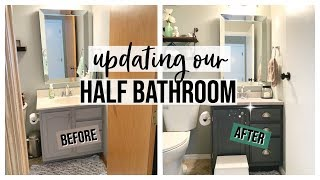UPDATING OUR HALF BATHROOM 2019   DIY MODERN GLAM FARMHOUSE BATHROOM MAKEOVER