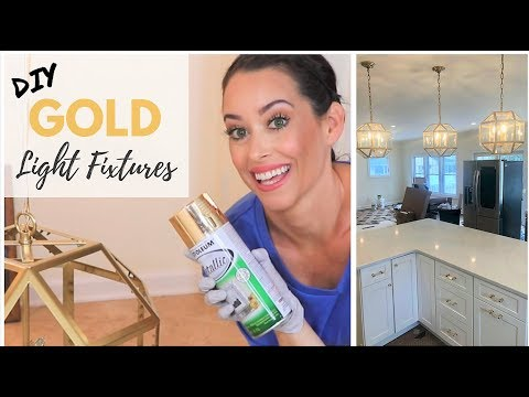 SPRAY PAINT LIGHT FIXTURES DIY | GOLD RUST-OLEUM SPRAY PAINT
