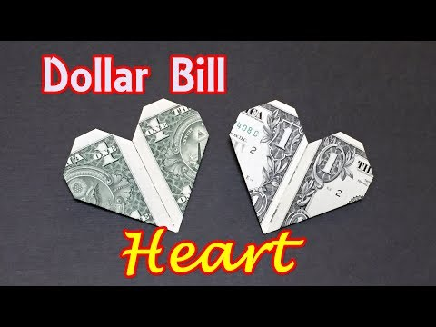 Dollar Bill Origami HEART |  How to Fold Heart out of Money |  Origami Easy for Beginners