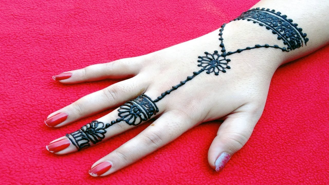 Easy Jewelry Bracelet Style Mehndi Design on Hand Back Side