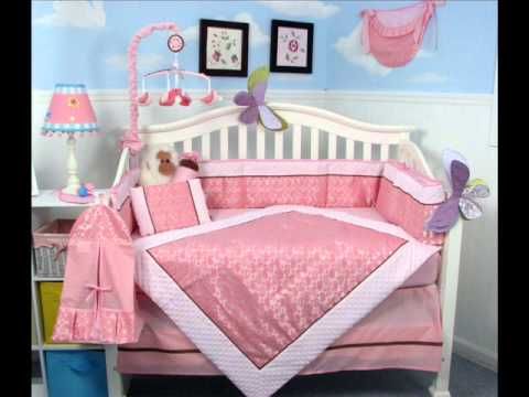 Classic Pink Paisley Crib Nursery Bedding Set 14 Pcs ; Baby Girls Bedding