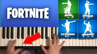 *NEW* LEAKED FORTNITE DANCES ON PIANO (Headbanger, Electro Swing, Sprinkler, Behold)