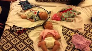 3 Reborn and Silicone Babies on a Hotel Bed :) Doll Show Day 1