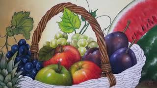 Pintura da Cesta de Frutas – Fundo da Pintura e Alça da Cesta