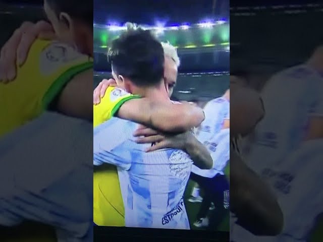 Neymar & Messi Embrace | Messi lifts Copa America 2021 title #Shorts