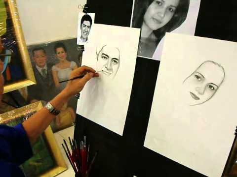 Left & right handed artist make a charcoal portrait for Vic sotto ,Quezon city  Philippines.(part 3)