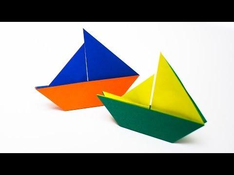 การพับกระดาษเป็นรูปเรือใบ Origami Sail Boat