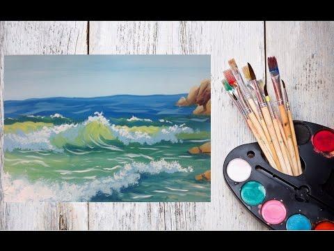Видео урок Морские волны гуашью! Рисуем с Dari Art!