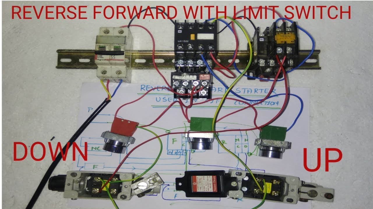 reverse forward starter control wiring with limit switch youtube limit switch control diagram [ 1280 x 720 Pixel ]