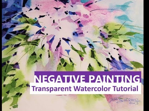 Transparent Watercolor Narrated Tutorial Featuring Negative Painting, Bowl of foliage