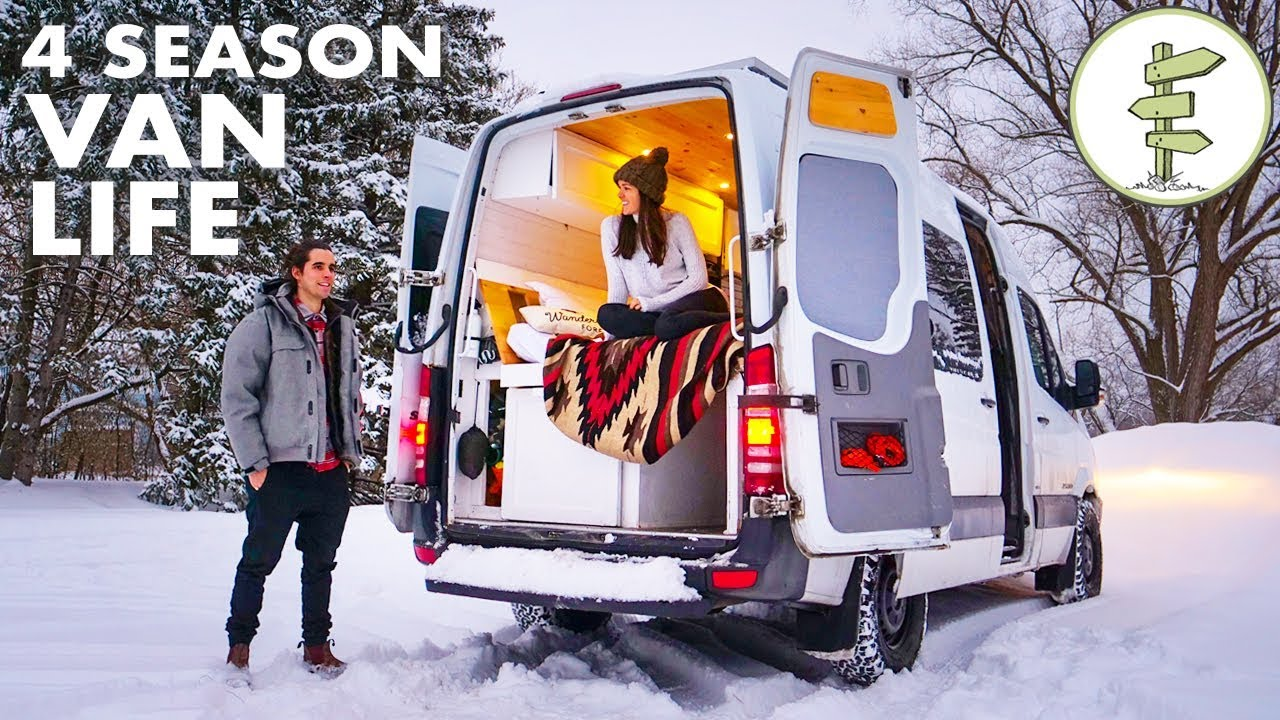 Sofa Van Lifa Living Winter Van Life Couple Living In A Camper Van While Running A Business