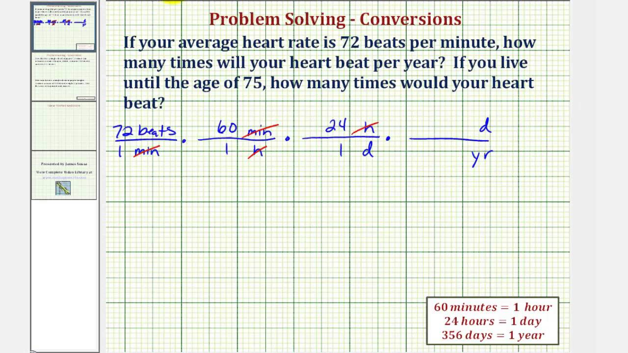Ex Conversion The Number Of Heart Beats Per Year And Over A Lifetime Youtube
