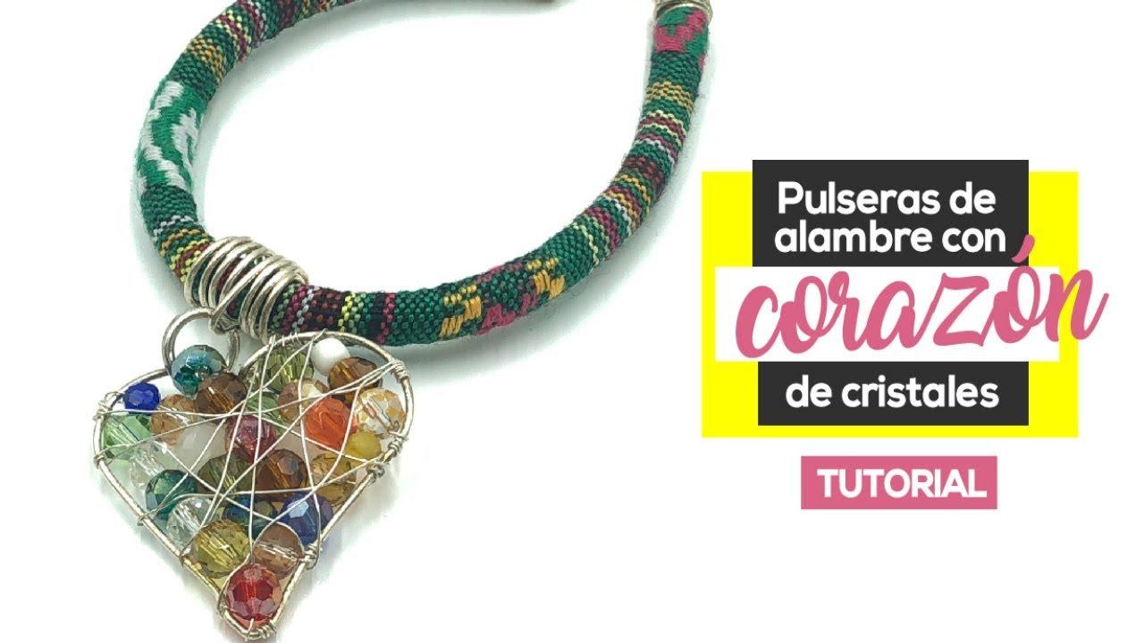 4c05332ad66b Pulseras De Alambre Con Corazón De Cristales DIY