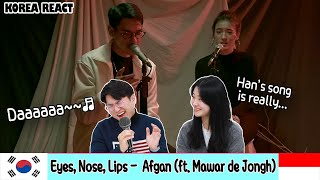 ☀️Korean Reaction☀️Eyes, Nose, Lips - Taeyang (Cover) By Afgan ft. Mawar de Jongh | Indonesia