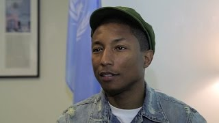 Pharrell Williams brings happiness to United Nations Headquarters