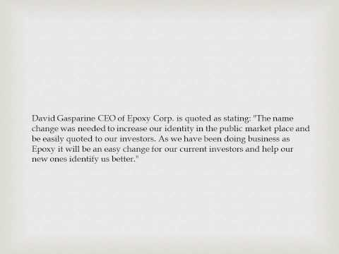 NeoHydro Technologies Corp Submits Application to Change Name to Epoxy, Inc.
