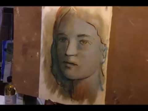 Un volto dipinto ad olio su carta YouTube
