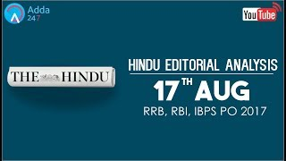 The Hindu Editorial Analysis | 17th August 2017 | IBPS, RRB PO | Online Coaching for SBI 2017 Video