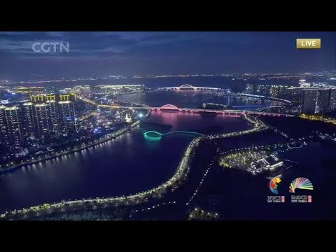 Dazzling light display in Xiamen