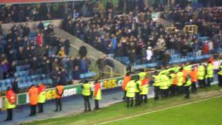 Millwall 0-6 Birmingham city - Millwall fans kicking off
