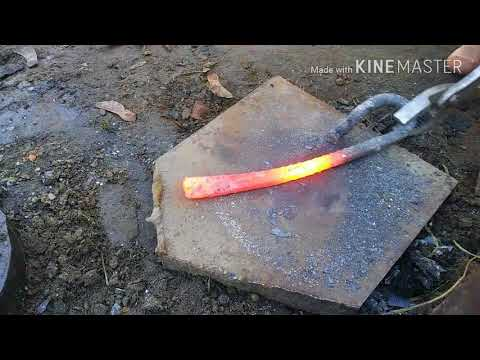 Forging a french nail WW1 trench knife from rebar