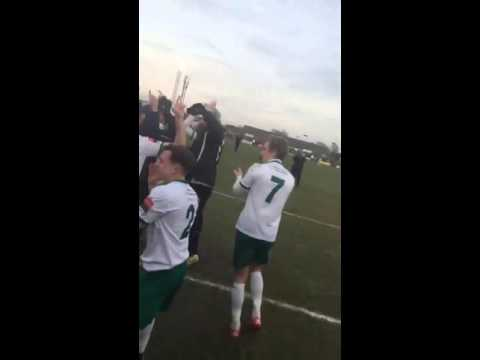 Bognor fans and players celebrate against Torquay United.