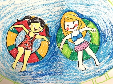 Painting summer for kids | How to draw a swimming pool step
