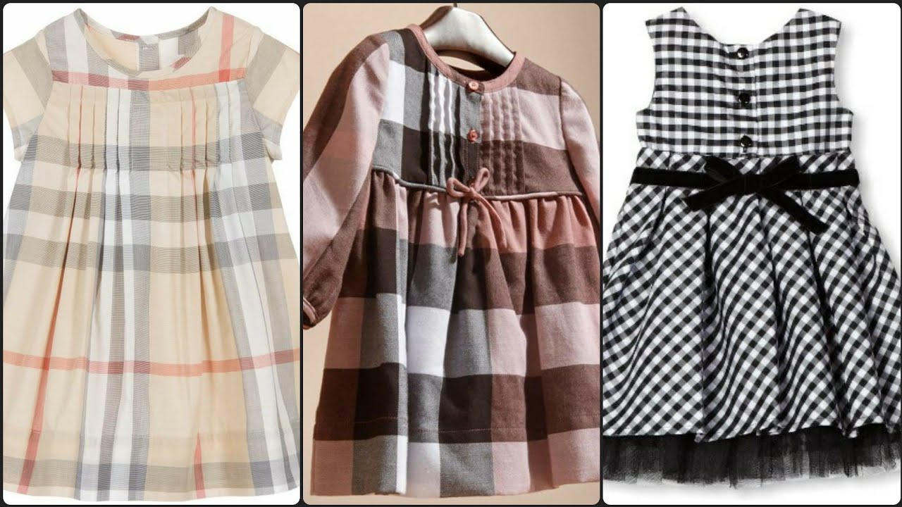 50Very Creative and Fabulous Designer check Print baby Frock Design/Summer plaid print pleated Frock