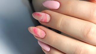 Очень легкий дизайн ногтей МРАМОР на ногтях Розовый маникюр