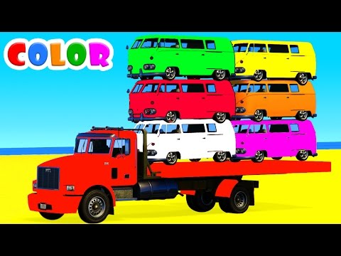 Thumbnail: LEARN COLORS with BUS in Spiderman Cars Cartoon for kids and Superheroes for babies toddlers