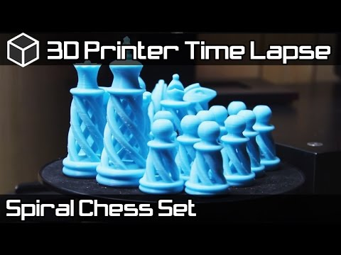 3D Printer Time Lapse - Skyblue and Pink Spiral Chess Set - 3D Printing Project