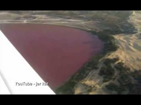 Yes, it is really pink! Flying over Lake Retba