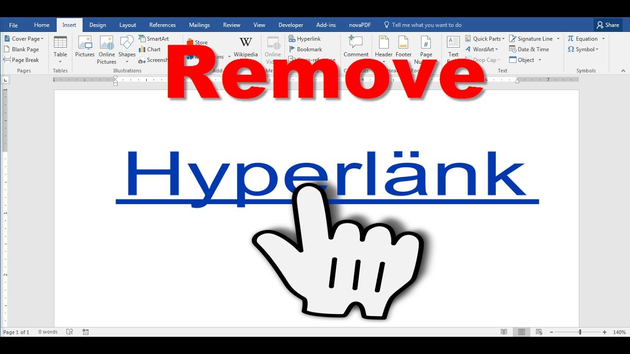 How to remove hyperlink in word document