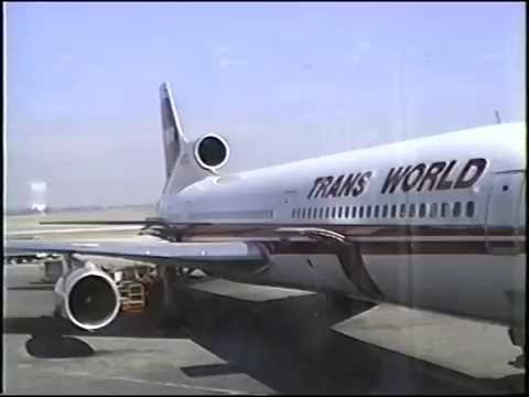 TWA Lockheed L-1011 TriStar takeoff, flight & landing STL - PHX March, 1991