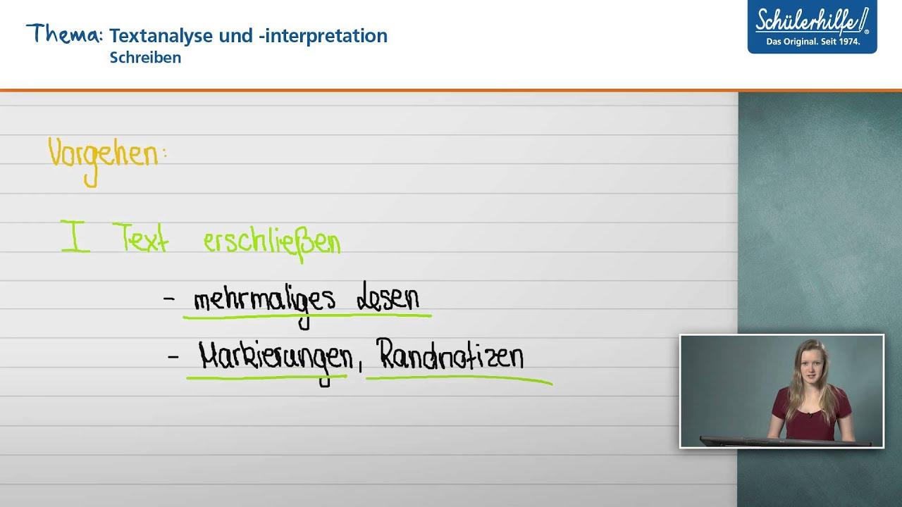 Textanalyse Interpretation Schreiben Deutsch