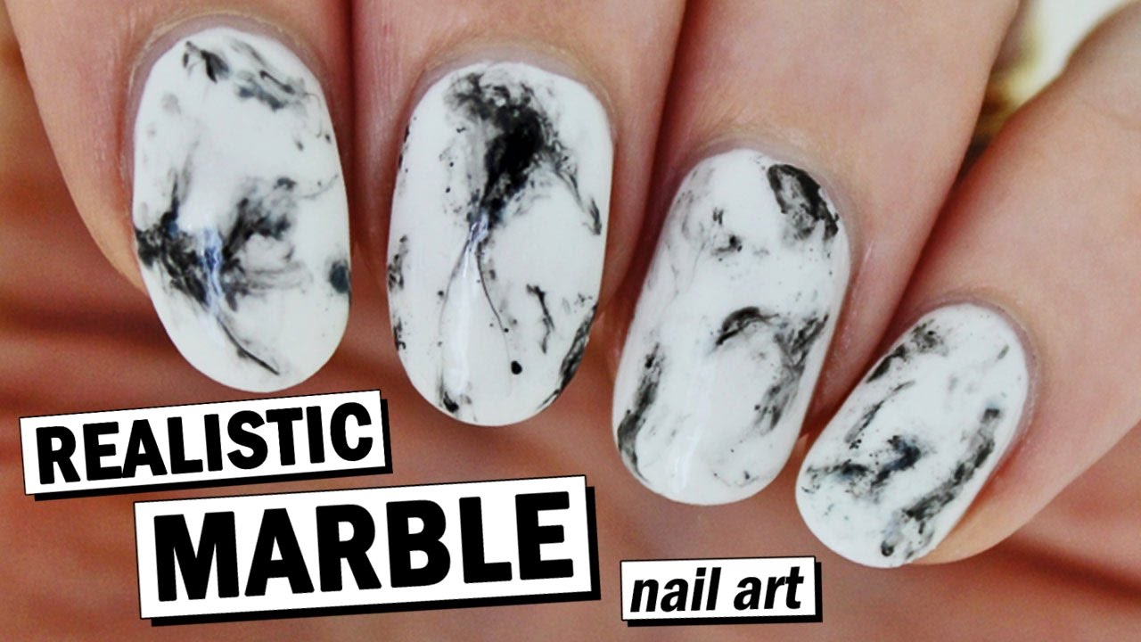 How To Create Realistic Marble Nails - Super Easy ...